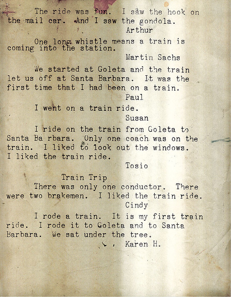 Mimeographed report of individual student comments from Isla Vista School class fieldtrip on March 5, 1961, Goleta to Santa Barbara. Acc. No. 88.5.3., page 2.