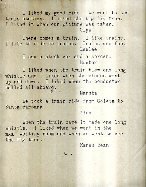 Mimeographed report of individual student comments from Isla Vista School class fieldtrip on March 5, 1961, Goleta to Santa Barbara. Acc. No. 88.5.3., page 4.