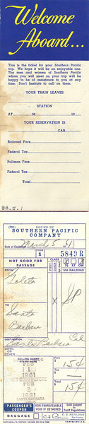 Inside of the ticket book used by Isla Vista School teacher Bobbie Piatt for a Goleta-to-Santa Barbara train trip taken by her 2nd grade class in 1961. From the collections of the South Coast Railroad Museum, Acc. No. 88.5.1