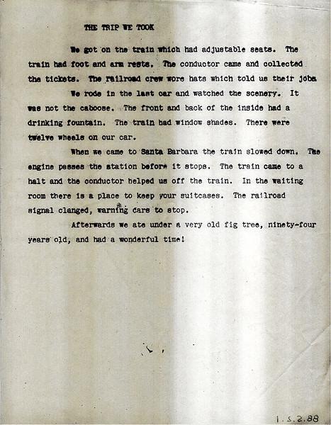 Mimeographed report of Isla Vista School class fieldtrip, March 5, 1961, Goleta to Santa Barbara. Acc. No. 88.5.2.1