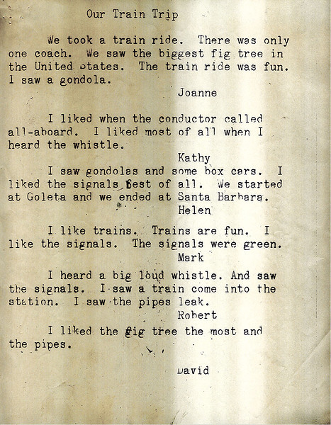 Mimeographed report of individual student comments from Isla Vista School class fieldtrip on March 5, 1961, Goleta to Santa Barbara. Acc. No. 88.5.3., page 1.