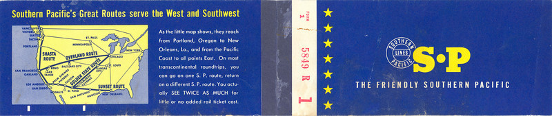 Outside of the ticket book used by Isla Vista School teacher Bobbie Piatt for a Goleta-to-Santa Barbara train trip taken by her 2nd grade class in 1961. From the collections of the South Coast Railroad Museum, Acc. No. 88.5.1