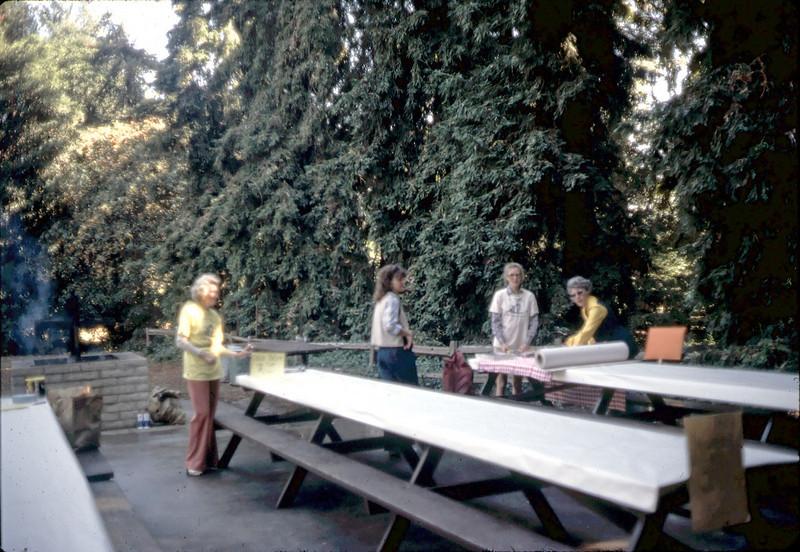 11/8/1981 Goleta Beautiful Barbecue. Norma Cavaletto, Mary Erdahl, Sabra Stevens, Harriett Phillips. acc2005.001.0002