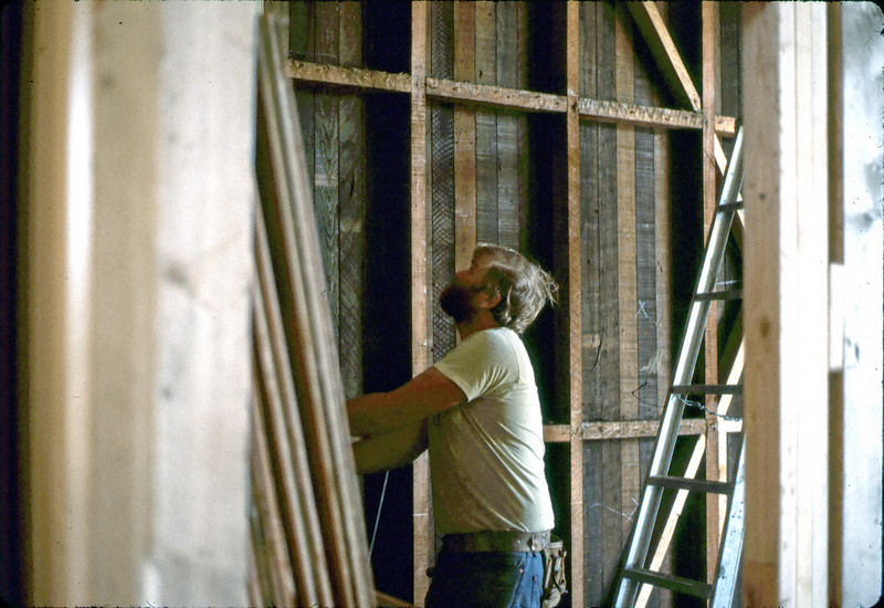 Removing wall above Freight Room, 4/3/1982. acc2005.001.0199