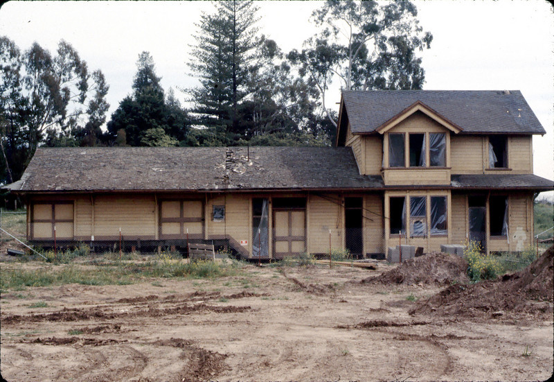 Goleta Depot building now rests on its new foundation, 3/1982. acc2005.001.0188