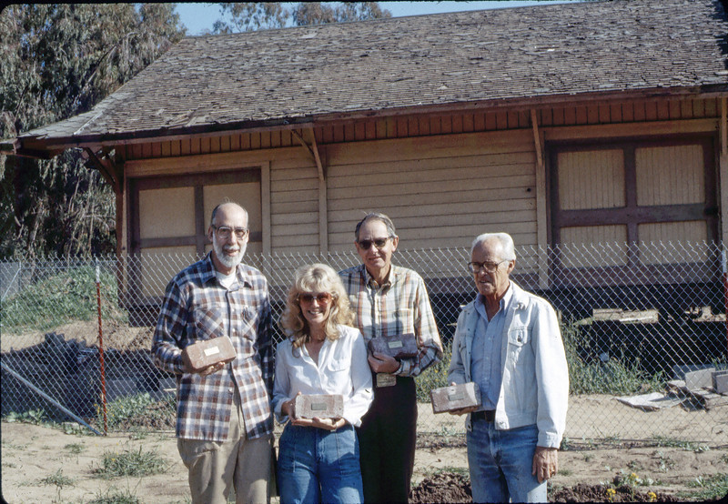 Depot bricks: Ray Baird, Phyllis Olsen, Gene Allen, George Adams, Feb. 1982. acc2005.001.0142