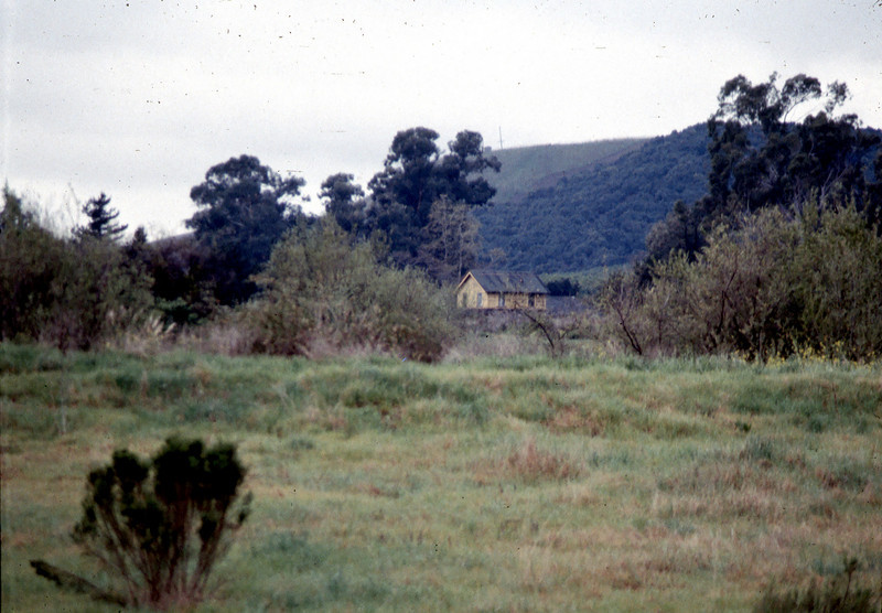 Photo of Goleta Depot taken from far side of Lake Los Carneros, before building was lowered onto its foundation, 3/1/1982. acc2005.001.0168