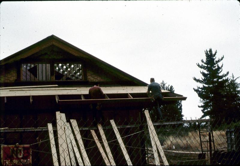 "Carpenters ""Louie"" and ""Paul"" rebuilding eave, 6/1982. acc2005.001.0228"