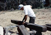 Ralph Moore builds steps out of railroad ties, 8/1983. acc2005.001.0392