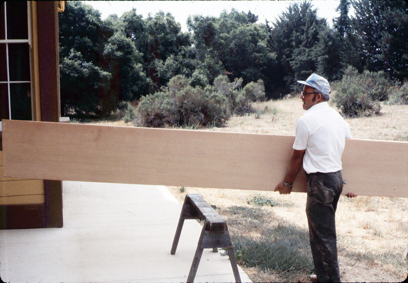 Ralph Moore building new express counter for Freight Office, 7/1983 or 8/1983.. acc2005.001.0386