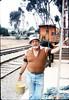 Eugene Boswell paints Goleta Depot, 7/1988. acc2005.001.0994