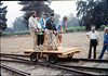 Dave Hieter and others test the new museum handcar, 10/1989. acc2005.001.1214