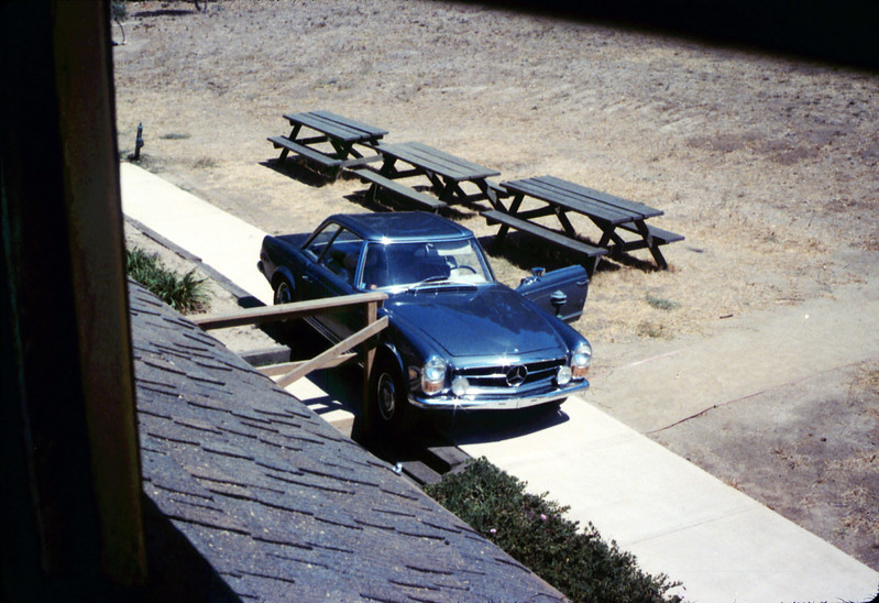 Mary Pagliotti automobile accident on museum grounds in front of Chamber of Commerce, Summer 1988. acc2005.001.1006