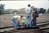 Work Day (Dave Hieter & others building handcar boarding platform), 1/1990. acc2005.001.1247