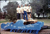 New handcar is featured in museum's Goleta Valley Days Parade float, 10/1989. acc2005.001.1218