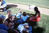 Goleta Librarian Judy Savage holds storytime during Simi Valley rail trip for Summer Reading Program, 1989. acc2005.001.1203