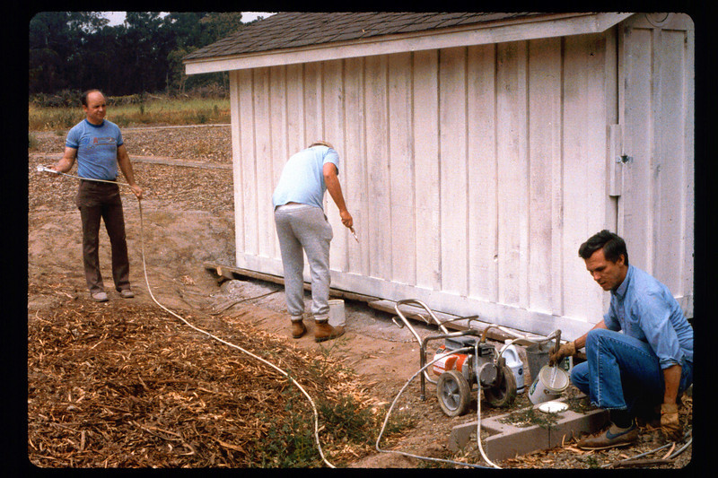 Painting the train shed (Dave Hieter, center, Jim Allen, right), 1991. acc2005.001.1474