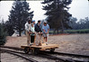 Dave Hieter and others test the new museum handcar, 10/1989. acc2005.001.1213