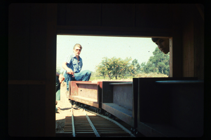 Putting the train away in the new shed (Mike Williams and Steve Kramer), 1990. acc2005.001.1435