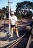 Hieter Family (Dave Hieter) ballasting track at Goleta Depot, 1989. acc2005.001.1199
