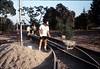 Hieter Family ballasting track at Goleta Depot, 1989. acc2005.001.1195