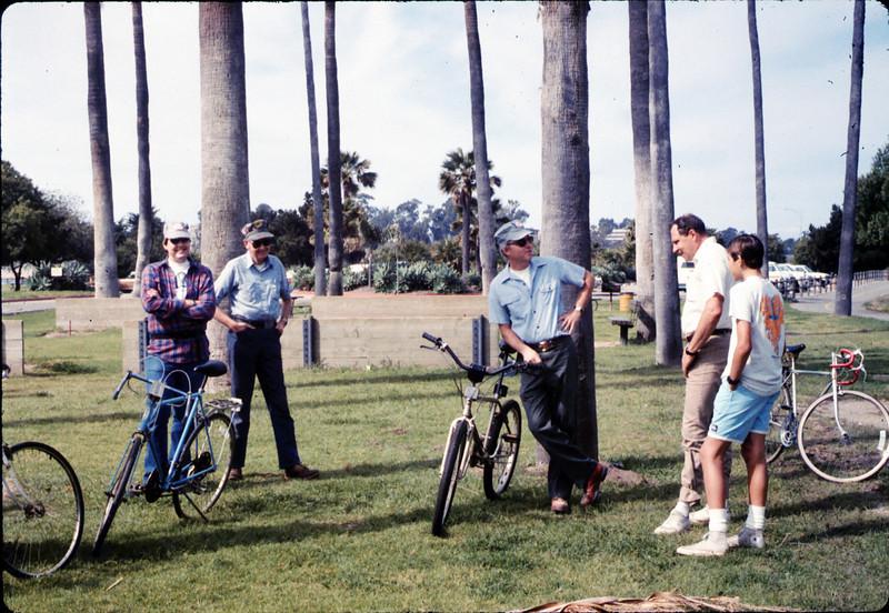 Scott Moore, Gene Allen, Ralph Moore, Kip Kramer and Steve Kramer at Asphalt Regatta spring fundraiser, 3/14/1987. acc2005.001.0724