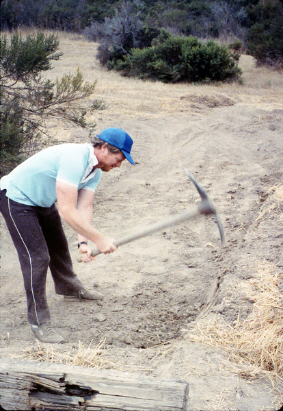 Doug Conrow helps with the miniature-railroad track construction, 6/1987 acc2005.001.0814