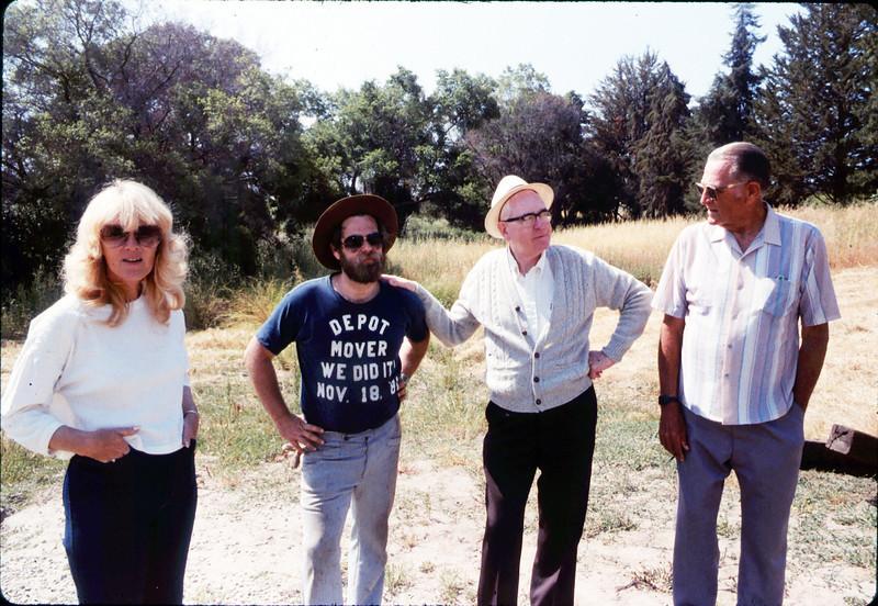 Laying of the standard-gauge track (Phyllis Olsen, Gary Coombs, Steve Sullivan, Capt. Rodman), 5/11/1985 acc2005.001.0503
