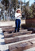Laying of the standard-gauge track (Phyllis Olsen holds stadia rod), 5/11/1985. acc2005.001.0495