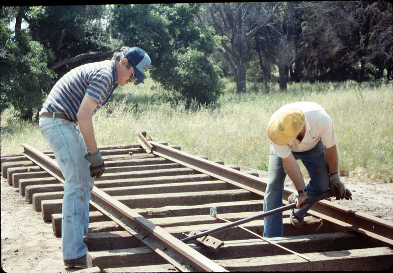 Track extension construction crew -- Perry Adams and Gene Boswell, 4/18/1987. acc2005.001.0767