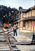 Ernest Thomsen with train-order post from Santa Barbara station, 3/7/1987 acc2005.001.0697