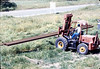 Laying of the standard-gauge track (Ed Lebeck on forklift), 4/2/1985 acc2005.001.0480D