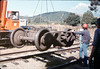 Caboose truck is lowered onto museum tracks, 9/25/1986 acc2005.001.0633