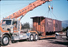 Caboose body in lowered onto the awaiting truck trailer, 9/25/1986 acc2005.001.0620