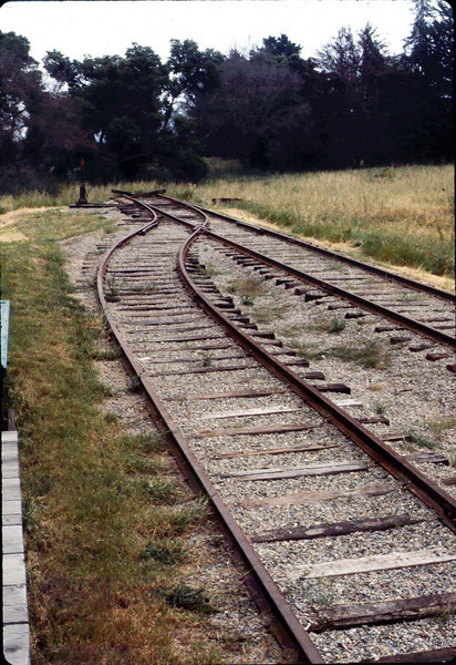 Standard-gauge track in front of Goleta Depot, 4/1986 acc2005.001.0575