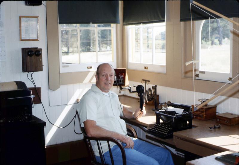 Volunteer Agent Bev Casselman in Freight Office, 1986 acc2005.001.0581