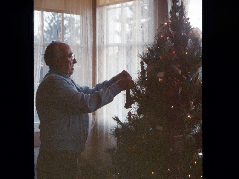 Earl Hill helps decorate the museum Christmas tree, 12/1986. acc2005.001.0656