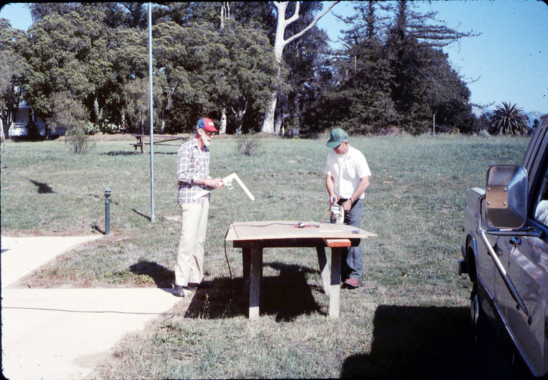 Ray Baird and Ralph Moore working on a project, 2/21/1987 acc2005.001.0704