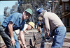 Track extension construction crew -- Ralph Moore, Gene Boswell, Malcolm Alexander, Scott Moore, and Perry Adams, 4/18/1987. acc2005.001.0758