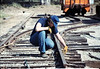 Track extension construction crew -- Scott Moore, 4/18/1987. acc2005.001.0754