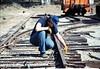 Track extension construction crew -- Scott Moore, 4/18/1987. acc2005.001.0754