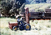 Laying of the standard-gauge track (Ed Lebeck on forklift), 4/2/1985 acc2005.001.0481