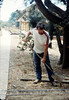 Dan Larson helps with the miniature-railroad track construction, 6/1987 acc2005.001.0824