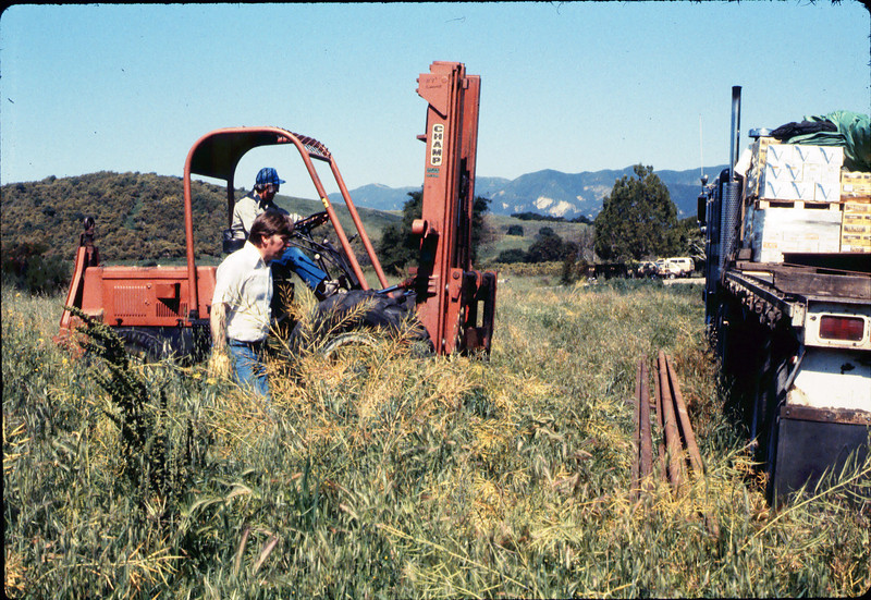 Laying of the standard-gauge track (Ed Lebeck on forklift), 4/2/1985 acc2005.001.0477