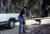 Scott Moore helps with the miniature-railroad track construction, 6/1987 acc2005.001.0806