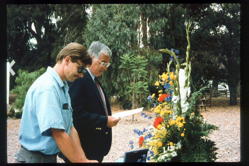 Memorial and tree-dedication honoring late museum benefactor Earl Hill, 8/8/1992. acc2005.001.1661