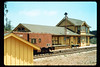 Goleta Depot (west side), shed,  and caboose, 1991. acc2005.001.1498