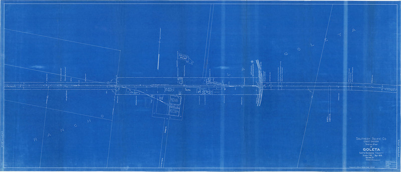 This blueprint map of the Goleta rail yard, as it existed in 1926, was digitized by the Map Dept., University of California, Santa Barbara Library. SCRM Accession No. 1985.16.001. The original is now housed in the South Coast Railroad Museum Collection at the UCSB Library, Dept. of Special Collections.