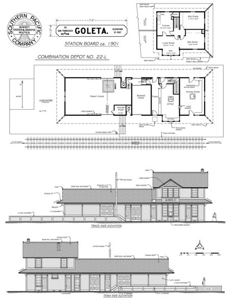 "Scaled architectural drawings of Goleta Depot by draftsman and South Coast Railroad Museum volunteer Jean-Guy Dube. To see other architectural drawings, including  Southern Pacific plans for the standard Combination Station No. 22, on which Goleta Depot was based, as well as Jean-Guy Dube's end elevations for Goleta Depot, click on ""CLOSE"" above."