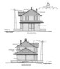 End elevations of Goleta Depot by draftsman and South Coast Railroad Museum volunteer Jean-Guy Dube.